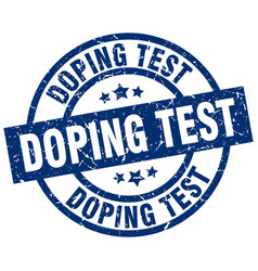 doping test blue round grunge stamp vector image vector image