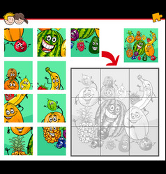 Jigsaw puzzles with fruit characters vector