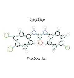 molecule c13h9cl3n2o triclocarban vector image