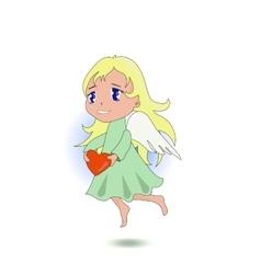 Anime cute angel holding a heart vector