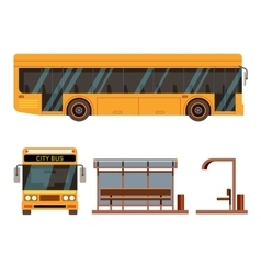 Bus stop in side and front view positions vector image vector image