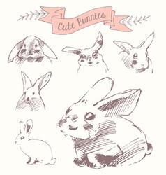 set cute bunnies easter rabbits draw sketch vector image