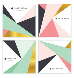 set of 4 creative universal invitation cards vector image