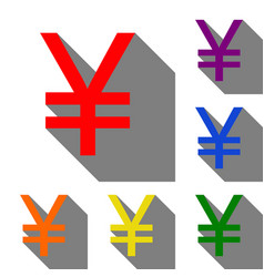 yen sign set of red orange yellow green blue vector image