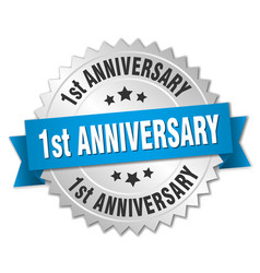 1st anniversary round isolated silver badge vector