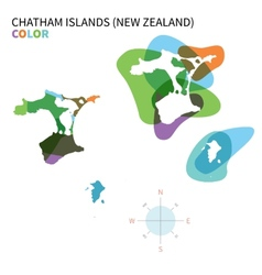 Abstract color map of Chatham Islands vector image