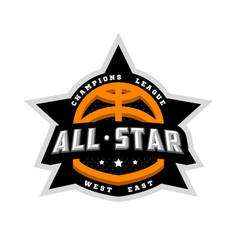 all star basketball sports logo emblem vector image
