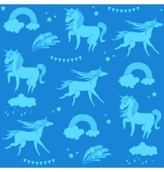 Aquamarine unicorns with clouds rainbow and stars vector image