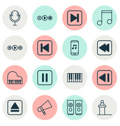 Audio icons set collection of rostrum skip song vector