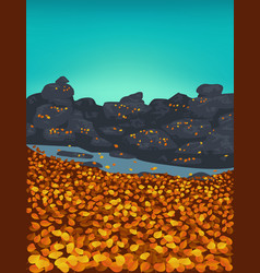 Autumn background with golden leaves vector