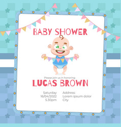baby shower card for boy in cartoon style vector image