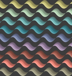 Background with colored stylized waves on black vector