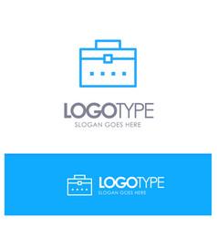 Bag worker bag user interface blue outline logo vector