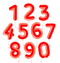 Baloons numbers set red air balls for decoration vector