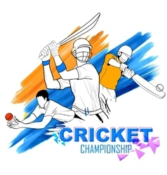 Batsman playing cricket championship vector