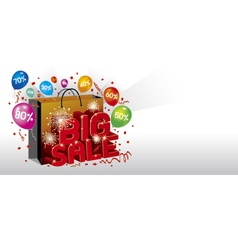 Big sale design with shopping bag vector image