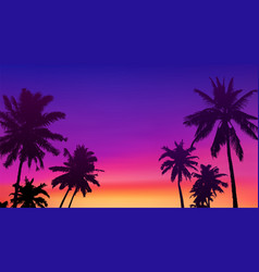 Black palm trees silhouettes at colorful sunset vector
