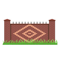 Brick fence element to use for manor house garden vector