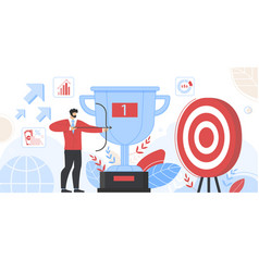 businessman hold bow aiming arrow to target board vector image