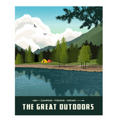 camping in mountains by lake vector image