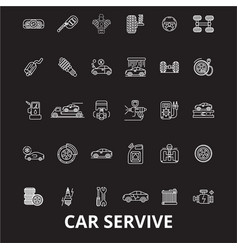 car service editable line icons set on vector image