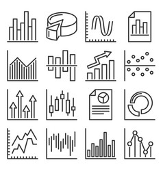 charts and graphs icons set on white background vector image