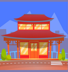 Chinese or japanese restaurant oriental style vector