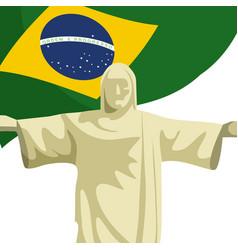 Christ redeemer with brazilian flag vector