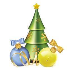 christmas balls with bows serpentine and stylized vector image