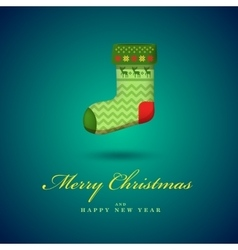 christmas bright green gift sock blue vector image