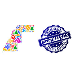 Christmas sale collage of mosaic map of western vector
