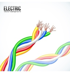 colored plastic cables on white vector image