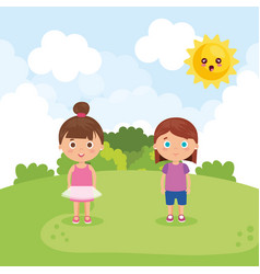 Couple of little girls in the park characters vector