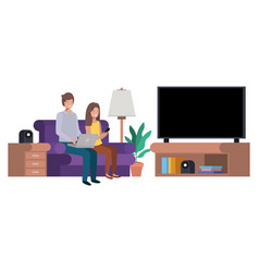 couple sitting in the living room with laptop vector image
