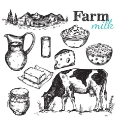 Cow And Nature Milk Sketch vector