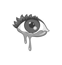 Crying eyes icon black monochrome style vector image