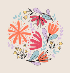 Fantasy flowers card vector