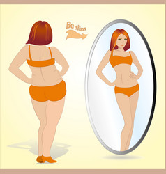 Fat woman looking in mirror and seeing herself as vector