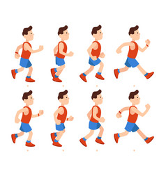Flat running man athletic boy run animation vector