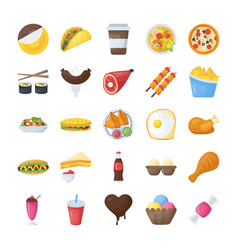 Food and drinks flat icons pack vector
