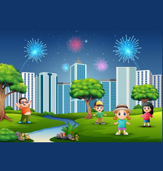 funny cartoon boys and girls are playing in the pa vector image
