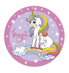 Funny cartoon unicorn pink circle vector