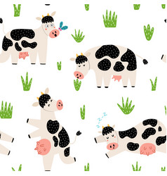 funny countryside seamless pattern with cute cows vector image