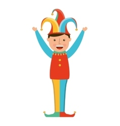 funny fool jester character icon vector image