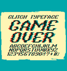 Glith typeface game over vector