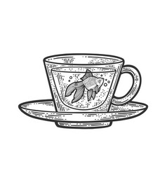 gold fish in cup sketch vector image