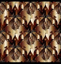 gold greek key seamless pattern floral 3d vector image