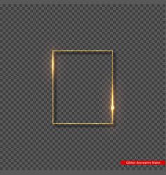 golden glitter frame with glowing lights vector image