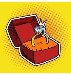Golden ring pop art style vector