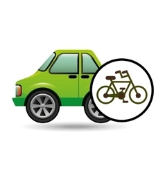 Green ecology car concept transport bike vector